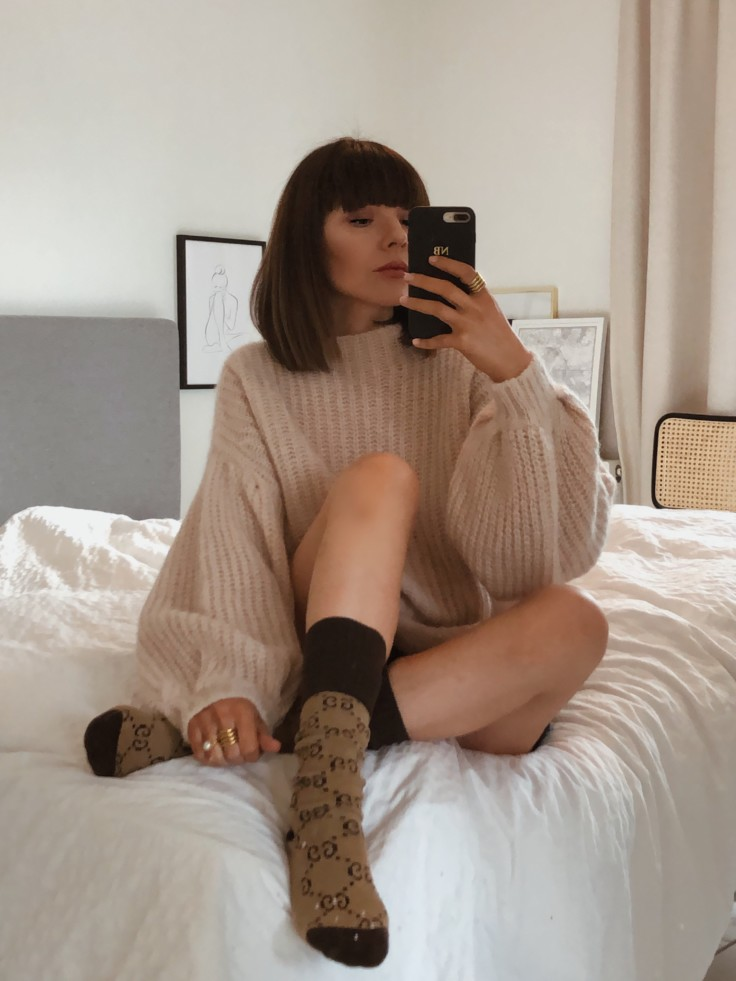 wfh, cosy outfit, gucci socks, sezane jumper