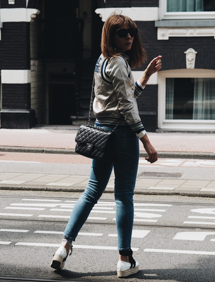 nickyinsideout - scotch & soda - fall shopping - high rise denim - bomber jacket - feminine blouse - street style - inspiration