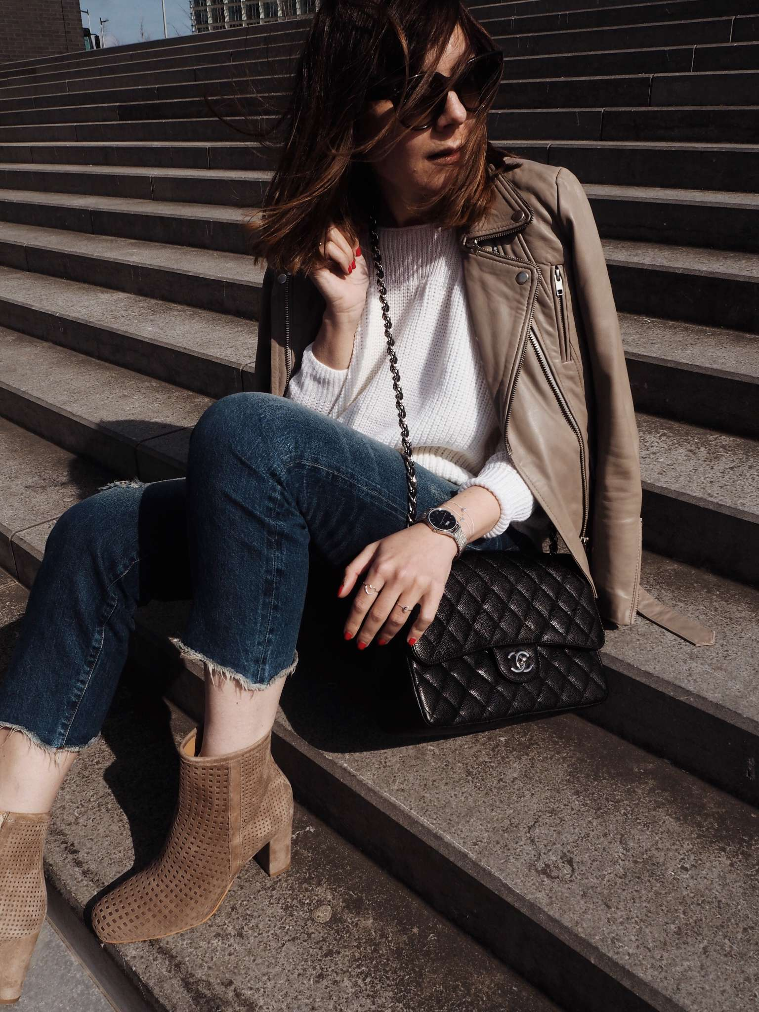 danielfootwear-lauragravestock-nicolevienna-off-the-shoulder-knit-perforated-ankle-boots-shein-silver-jewellery-silver-mesh-watch