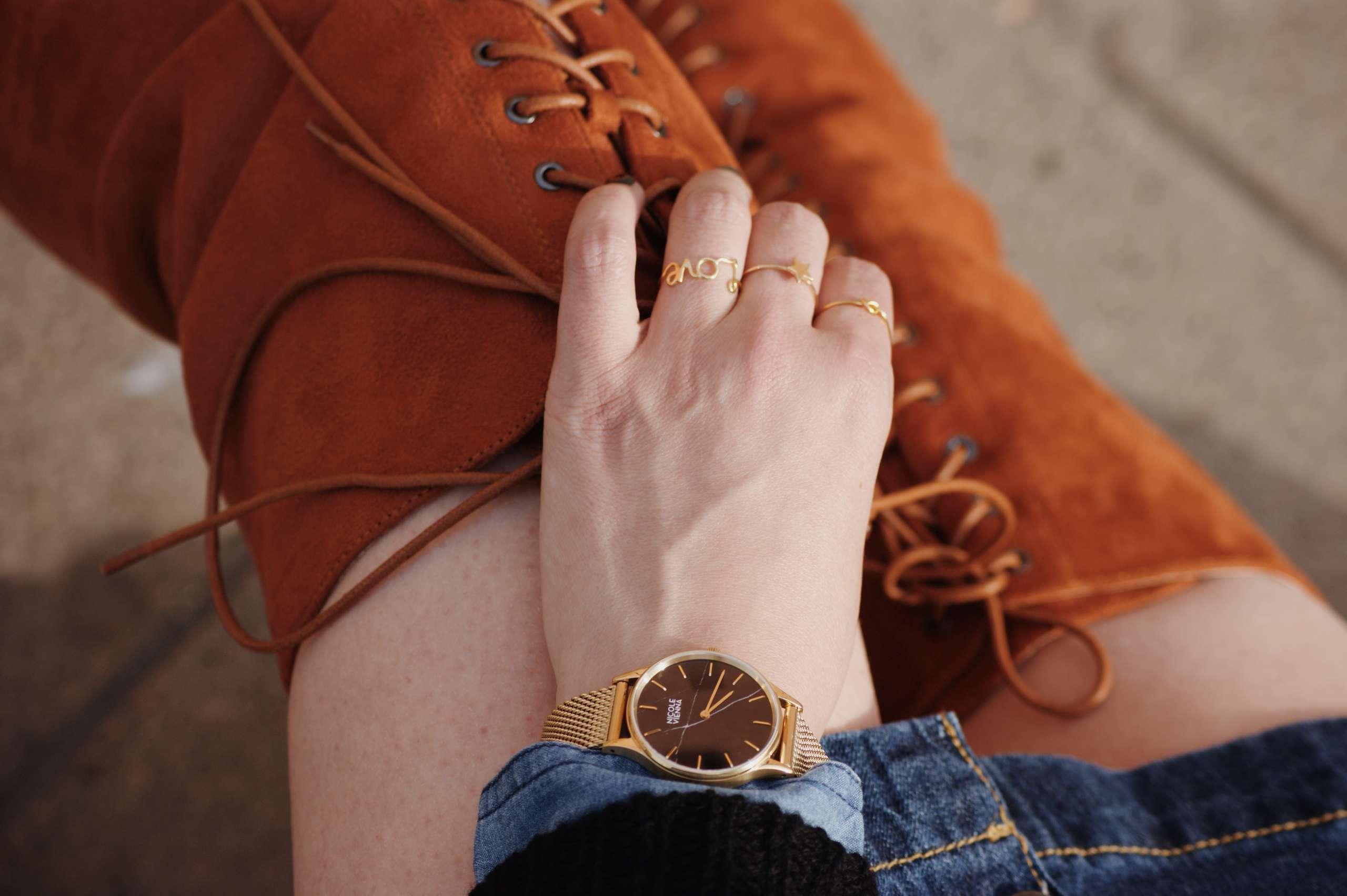 A-line-denim-skirt-denim-on-denim-denim-shirt-dricoper-gucci-knot-ring-laura-gravestock-love-ring-nicole-vienna-OVER-THE-KNEE-BOOTS-soho-leather-mini-chain-black-soir-n79-mesh-gold-star-ring-tan-suede