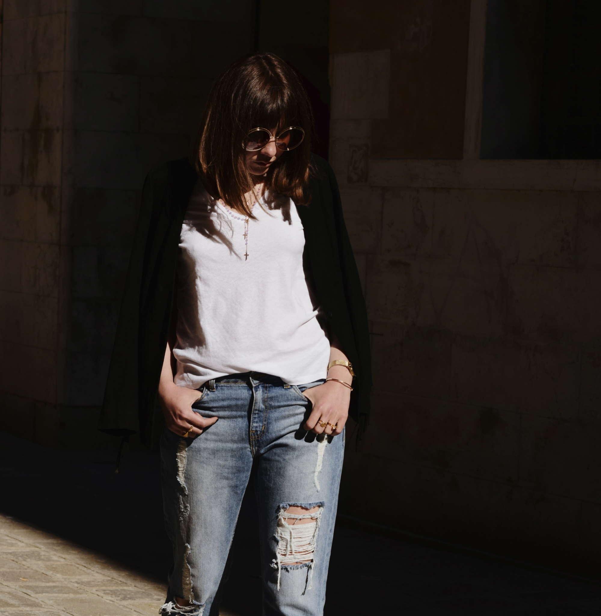 AMEN-boyfriend-jeans-denim-dricoper-fringe-jacket-jewelrybyad-Levi's-nike-cortez-rosary-choker-round-sunglasses-stylebutler-western-jacket-white-sneakers-white-tshirt-zerouv